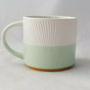 Starbucks 2014 Mint Green White Ribbed Coffee Mug